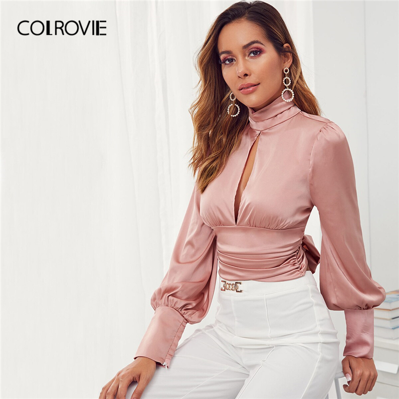 COLROVIE Pink Tie Back Cut-out Front Backless Satin Top Women High Neck Bishop Sleeve Blouse Shirt 2019 Fall Solid Sexy Blouses