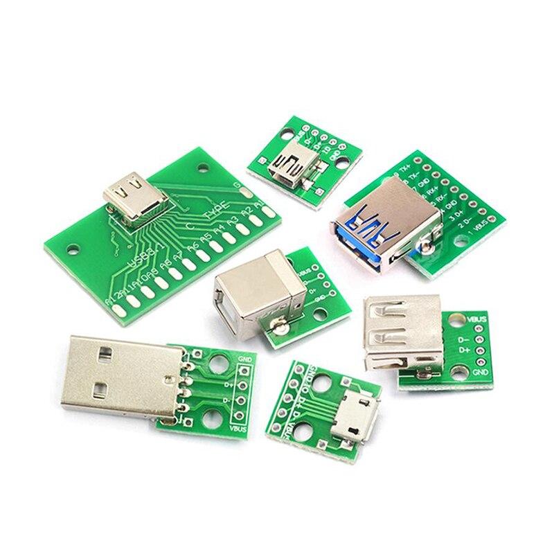 Micro Mini USB A macho USB 2,0 3,0 A hembra USB B, interfaz de conector A 2,54mm DIP PCB, adaptador de convertidor, placa de interrupción 5 uds.|Circuitos integrados|   -