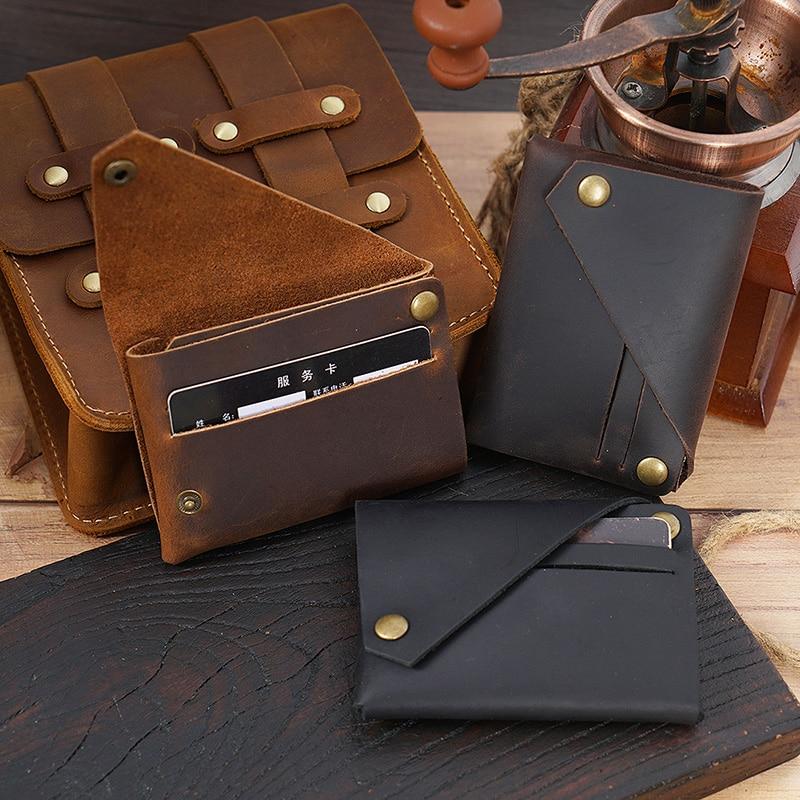 Creative Design Credit Card Holder Genuine Leather Minimalist Wallet For Cards Handmade Cow Leather Purse Vintage Cardholder