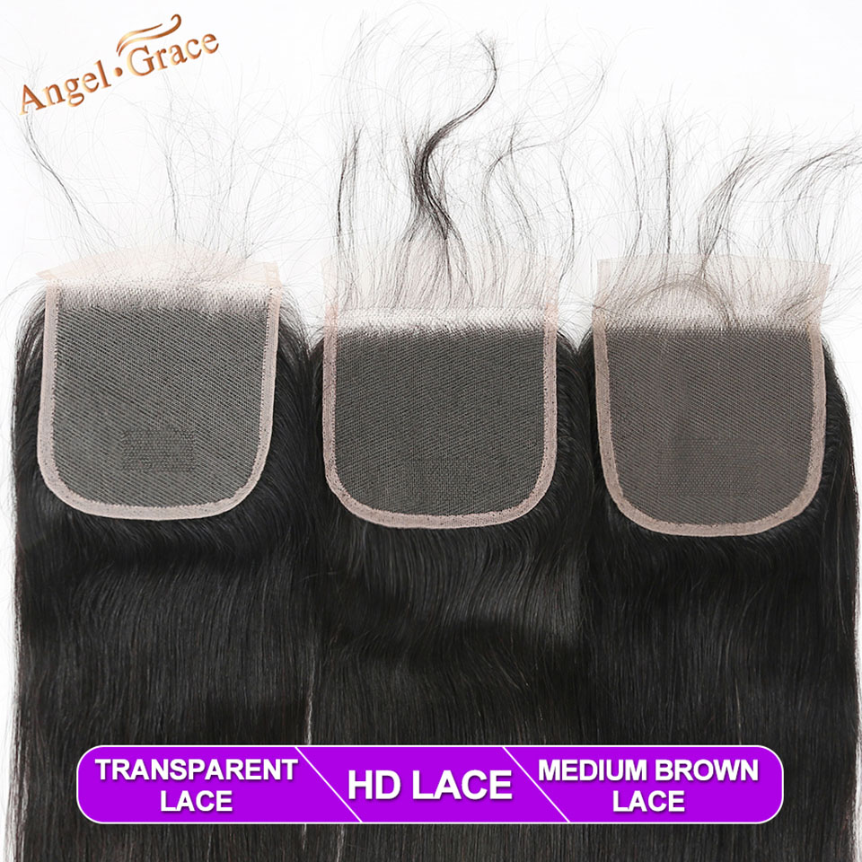 Hc68b2b4ea0b64d2bb8ed59e860e3f5c4X Angel Grace Hair Brazilian Straight Hair Bundles With Transparent/HD Lace Closure Remy Human Hair Weave 3 Bundles With Closure