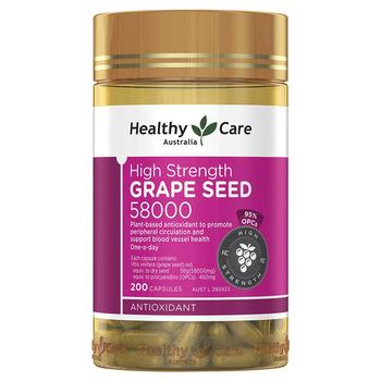 Healthy Care Grape Seed Extract 58000 200Caps Women Beauty Skin Care Capillaries Health Antioxidant Against free radical damage 5