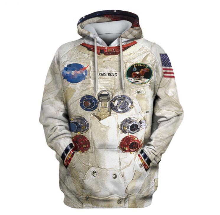DIY New 3D Armstrong Space Suite Hoodie Sweatshirt Men Women Hoodies Casual Sweatshirt Cute Coseplay Astronaut Spacesuit Hoodies