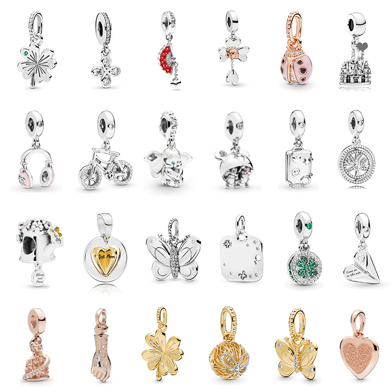 PDB DZ 42 100% 925 Sterling Silver Original Quality Ladies Four-leaf Clover Heart-shaped Butterfly Bicycle Insect Castle Pendant