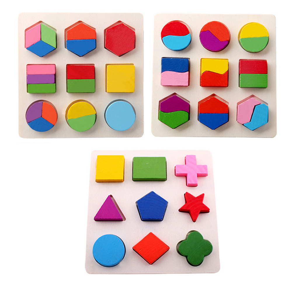 Kids-Wooden-Building-Blocks Geometry Building Puzzle Toys Early Learning Educational Toys  Children Puzzle Toys For Kids Gifts