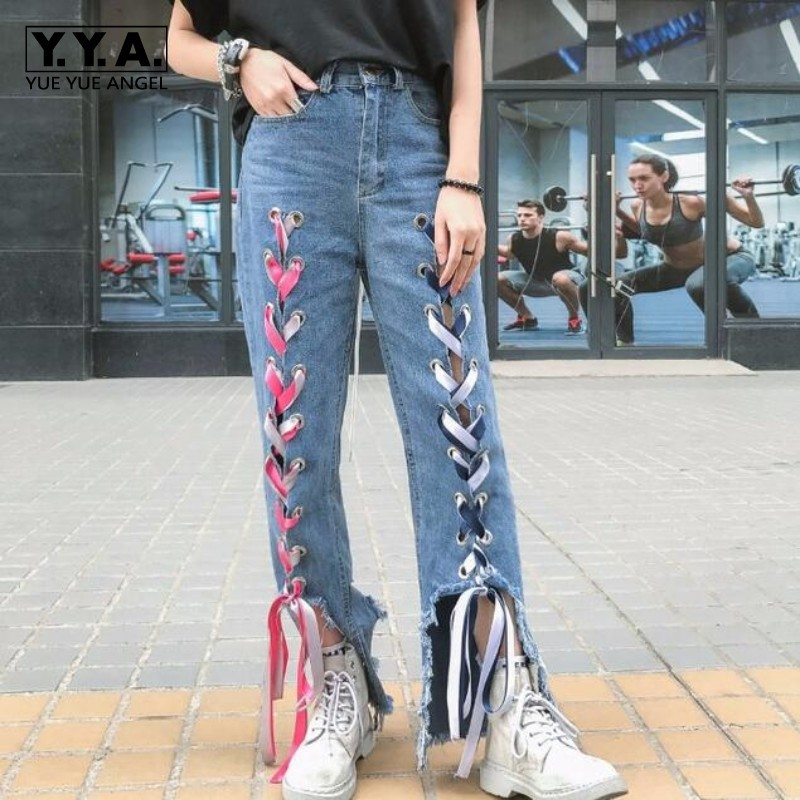 Girls Personality Lace Up Loose Casual Denim Jeans Hole Ripped High Streetwear Fashion Designer Women Trousers Mid Waist Pants