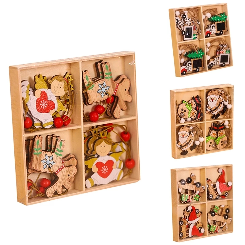 12pcs Christmas Wooden Pendant Santa Claus Snowman Xmas Tree Hanging Ornaments New Year Gift Christmas Decoration for Home 2022