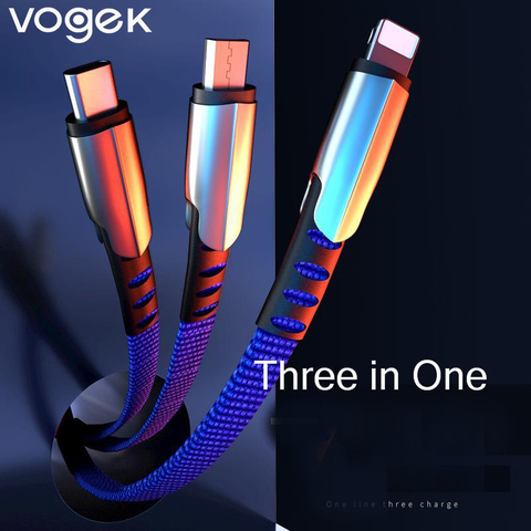 Vogek 3 in 1 USB Cable For iPhone Samsung Huawei Fast Charge  Micro TypeC USB Mobile Phone Cables 5A Data Line Pakistan