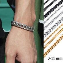 Vnox – Bracelets de base à maillons cubains pour hommes et femmes, 3/5/7/9/11mm, bijoux Anti-allergie, en acier inoxydable, cadeaux
