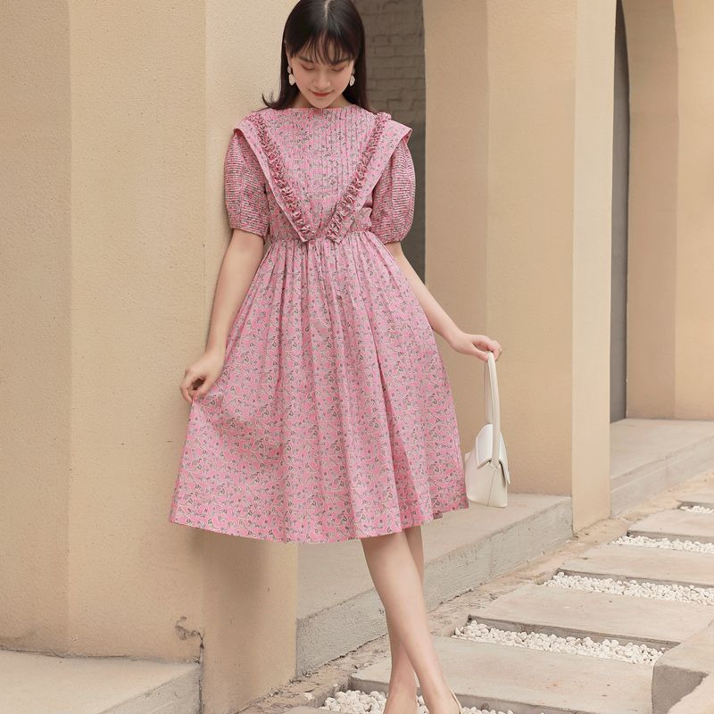 LANMREM Pink Floral Dress Female Summer 2020 Bubble Short Sleeve French Palace A-line Pullover Sweet Dresses Female Vestido WM18
