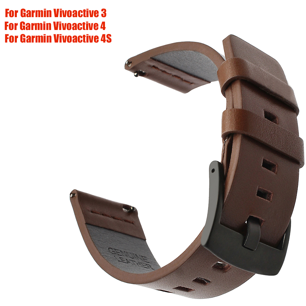 Italy Oily Leather Watchband 18 20 22 Mm For Garmin Vivoactive 3 Vivoactive 4/4S Sport Quick Release Watch Band Wrist Belt Strap