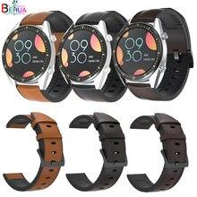 Correa de silicona y cuero para reloj inteligente, 22mm, para Samsung Gear S3/Huawei Watch GT GT2 /Amazfit GTR 47mm