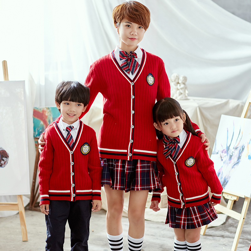 Childrenswear 2019 Spring New Style Young STUDENT'S British-Style School Uniform Kindergarten Suit Set Knitted Cardigan Plant