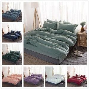 Image 1 - FAMIFUN New Product Solid Color 3/4 Pcs Bedding Set Microfiber Bedclothes Navy Blue Gray Bed Linens Duvet Cover Set Bed Sheet