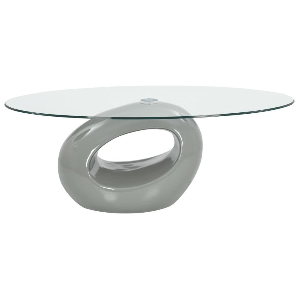 【USA Warehouse】Coffee Table With Oval Glass Top High Gloss Gray