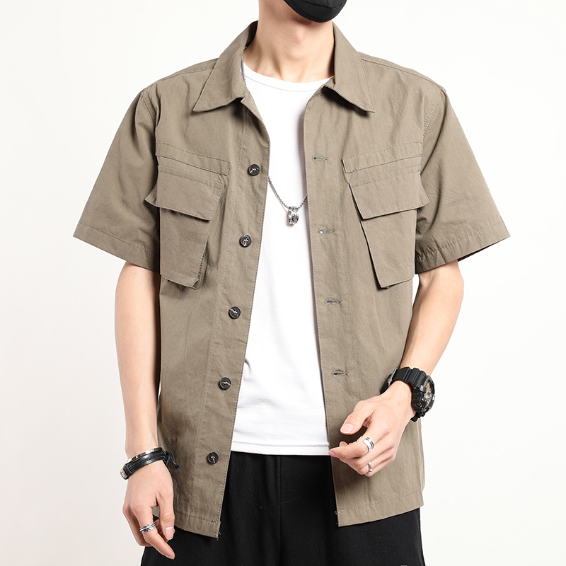 2020 Summer Casual Shirt Men Short Sleeve Cotton Cargo Solid Mens Shirts
