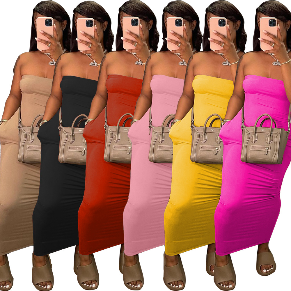 ANJAMANOR Sexy Tube Top Long Maxi Dress with Pockets Plus Size Casual Summer Dresses for Women 2021 Wholesale Items D0-BI20 4