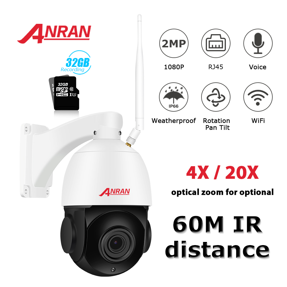 ANRAN 1080P PTZ IP Camera Outdoor Waterproof Speed Dome Camera 20 X Zoom Lens 60M IR