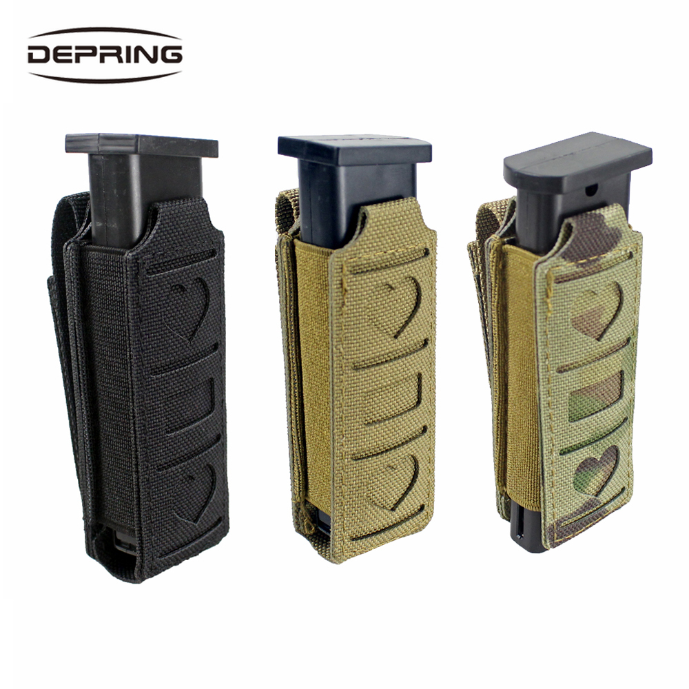 Tactical Molle Single Magazine Pouch Elastic Pistol Mag Pouch Waist Belt Multi-tool Pouch Flashlight Holster Tool Holder