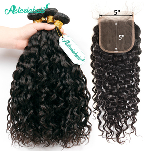 Asteria Water Wave 5x5 closure with bundles 3 Bundles with Closure Brazilian Human Hair Bundles With Closure Remy Hair(China)