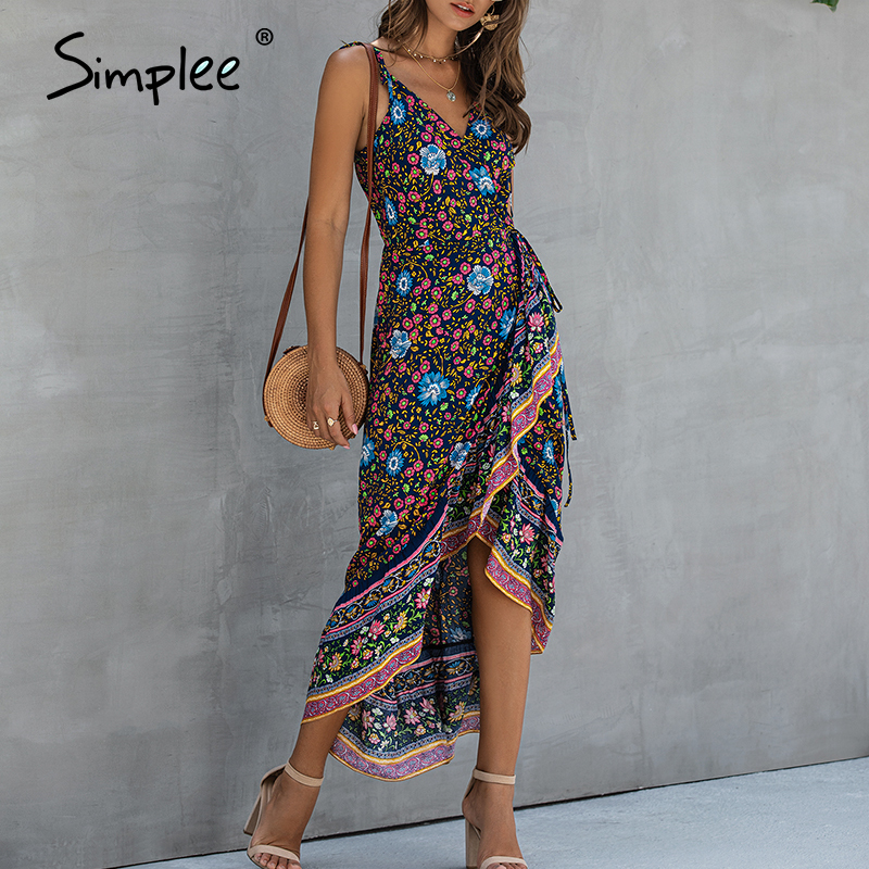 Simplee Ruffle Sleeveless Women Dress Floral Print Wrap High Waist Strap Summer Dress Beach Plus Size Casual Slim Fit Maxi Dress