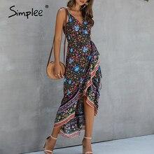 Simplee كشكش أكمام المرأة فستان الأزهار طباعة التفاف عالية حزام الخصر فستان صيفي الشاطئ حجم كبير عادية سليم صالح ماكسي فستان