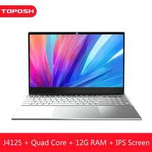 12gb ram barato computador portátil intel j4125 windows 10 pro quad core netbook magro escritório 15.6 Polegada notebook 1080p computador pc bluetooth