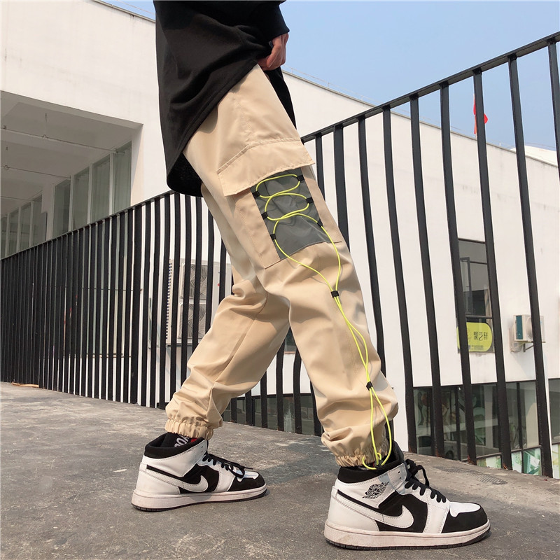 Focal20 Streetwear Solid Patchwork Women Jogger Pants Lace Up Pockets Female Trousers Casual Loose Spring Autumn Lady Bottoms