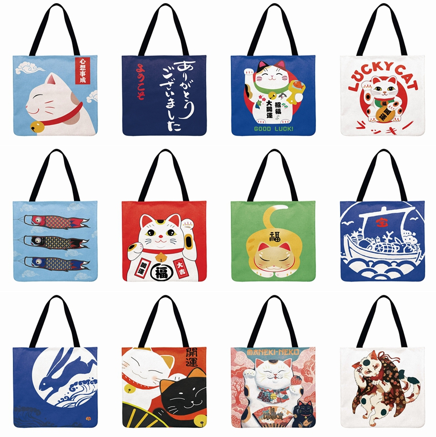 Women Beach Bag  Foldable Shoulder Bag Shopping Bag Japanese Lucky Cat Printing Tote Bag Linen Febric Casual Tote Reusable