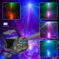 Световые сценические лазерные огни со встроенным аккумулятором RGB лазерная проекционная лампа с активированным звуком управления для дня ...