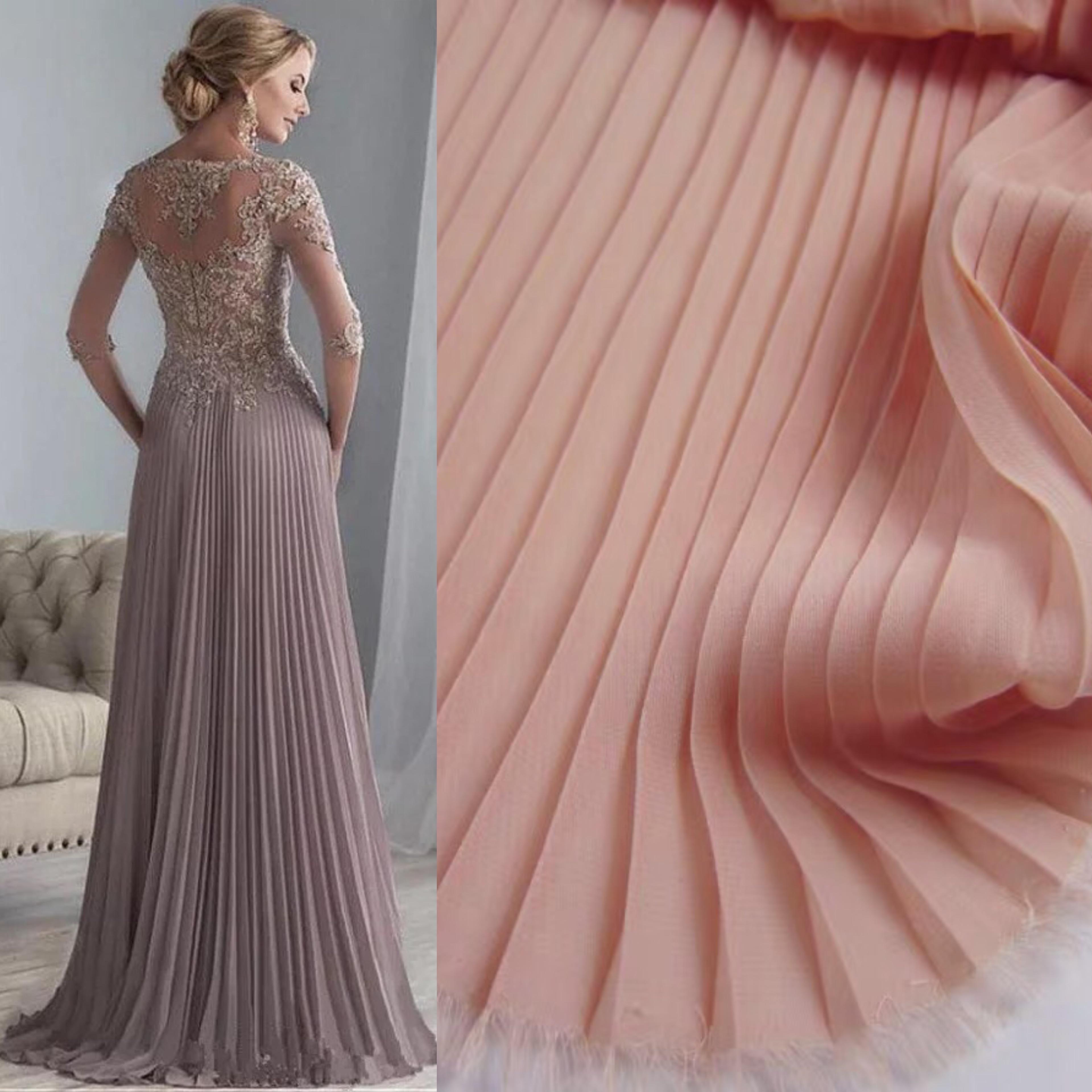 Плиссированная ткань для платья, голая шифоновая панель, плиссированная ткань для гармошки, шифоновая ткань для гармошки Ткань      АлиЭкспресс