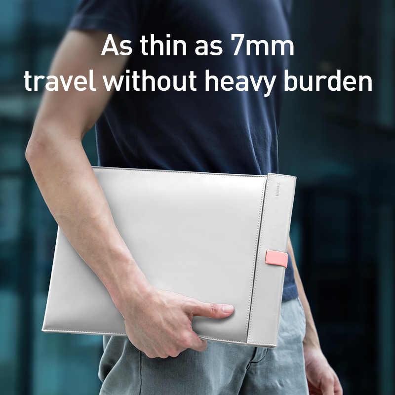 Baseus laptop çantası macbook çantası hava Pro 13 14 15 16 inç Mac kitap PU deri kol kapağı dizüstü bilgisayar için Coque Fundas