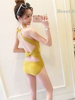 Korean style One piece Ginger Bikini Swimwear Bathing Suit Sexy Small Bust Gathering Slimming Belly Covering Spa Resort Cool