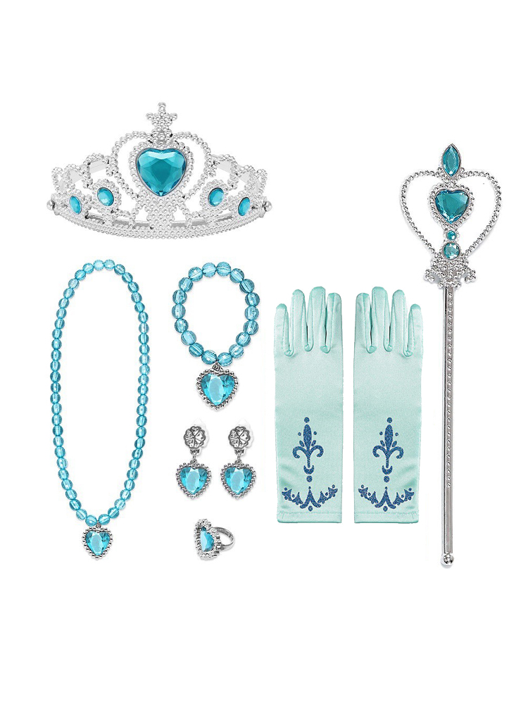 Elsa Wig Gloves Jewelry-Set Clothing Braid Dress-Up Crown Princess-Accessories Cosplay