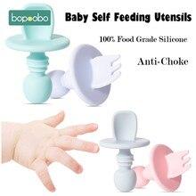 Bopoobo 1/2pc BPA bezpłatne dziecko łyżka silikonowa płyta karmienie dziecka dostaw dla dzieci silikonowy widelec Food Grade Newbornrn akcesoria zębów