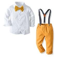 Long-sleeve Shirt + Pants 4 PCS Boys Clothes for 1 2 3 4 5 6