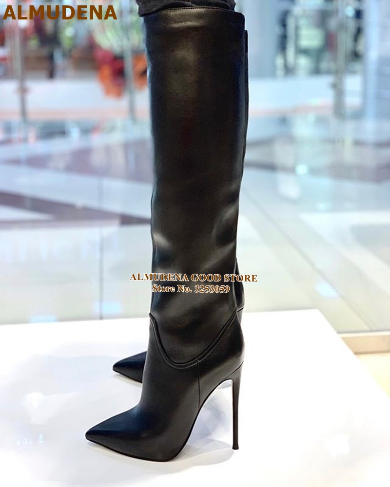 ALMUDENA Black Matte Leather Knee High