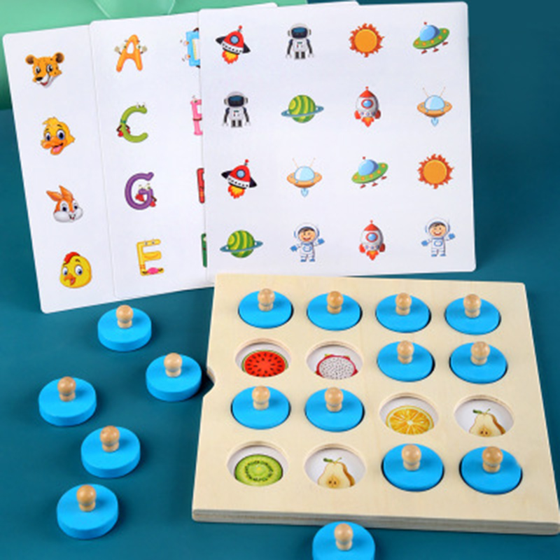 Montessori memory chess game 3D wooden puzzle board logic toy interaction early learning educational toys for children kids mini 1