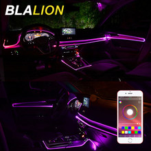 Lámpara Led Ambiental para El ambiente del coche, tira de luces de cable RGB, colorida aplicación de Control, luz Interior con encendedor de 12V