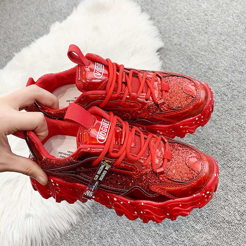 Mùa Xuân Nữ Chun Giày Thời Trang Nữ Giày Đế Bling Đính Hạt Cườm Thắt Dây Vulcanize Giày Nữ Huấn Luyện Viên Bố Giày