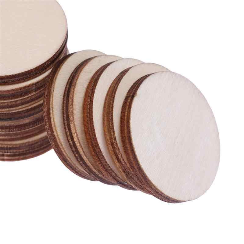 100 unids/pack ronda de piezas de madera práctico conveniente DIY de madera pieza ampliamente utilizado para artesanías proyecto