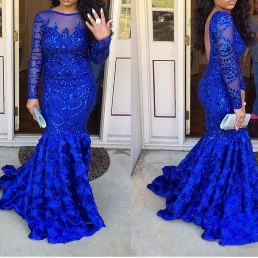 2019 New Royal Blue Long Sleeves   Prom     Dresses   Appliques Handmade Flowers Backless Lace Appliques Long Evening Party Gowns