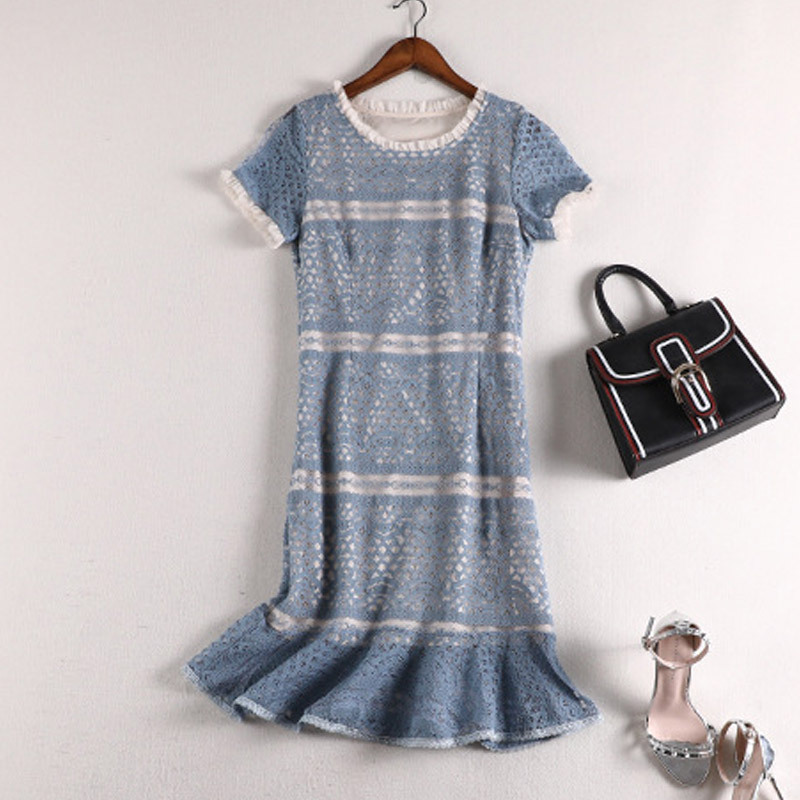 Lan Mu Square 2019 Autumn New Style Large GIRL'S Size Large Size Dress Elegant Slimming Lace Dress 10603