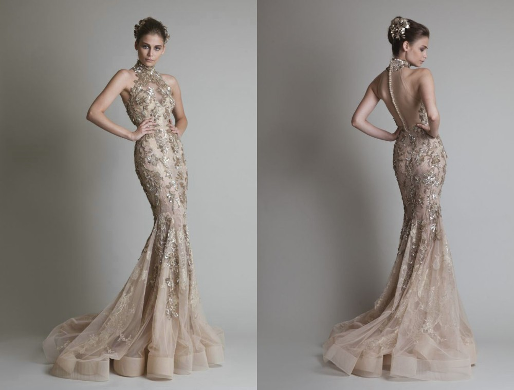 Elegant High Neck Mermaid Prom Women Open Back Evening Gown Beads Crystals Lace Appliques Formal Mother Of The Bride Dresses