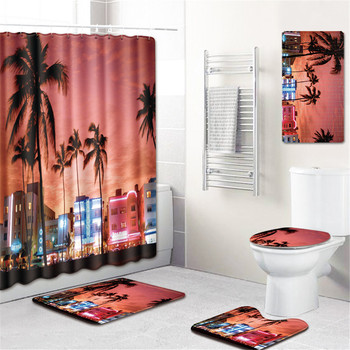 Beach Shower Curtain In Bathroom Waterproof Bath Curtains 3D Coconut Palm Seascape Douchegordijn Landschap Nordic