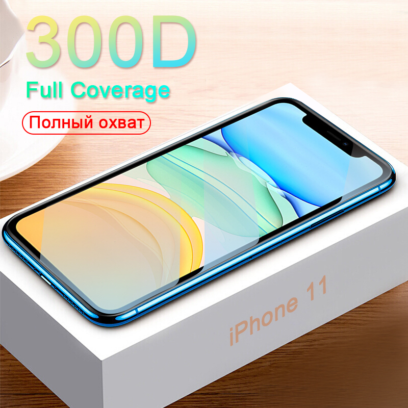 <font><b>300D</b></font> Protective Glass on the For iPhone 11 Pro X XS MAX 11 glass full cover iPhone 11 Pro Max XR Screen Protector Tempered Glass image
