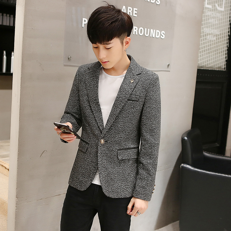 Men Slim Fit Korean-style Suit Business Casual Cotton Suit Single Breasted Sweater Sleeve Joint Coat