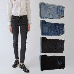 Neue 2020 Frühling Mittlere Taille Elastische Dünne Vier Farbe Frauen Bleistift Hosen Jeans Große Elastizität A3