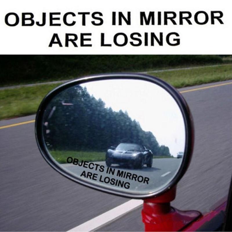 2Pcs/Set Car Rear View Mirror Warning Sticker OBJECTS IN MIRROR ARE LOSING Pattern Car Reflective Waterproof Stickers