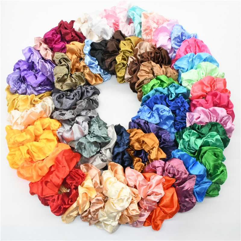(10 Pieces/lot) New Satin Lady Hair Scrunchies Set Solid Color Elastic Hair Band Rope Cloth Sports Dance Hair Accessories