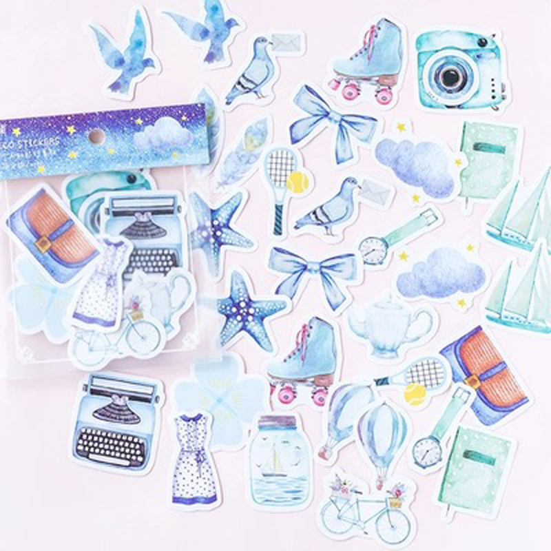 40 Pcs/Bag Blue Style Travel Notes Decorative  Stickers DIY Craft Stick Label